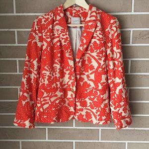 LOFT Orange Floral Damask Linen Blazer